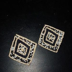 Mosaic beaded diamond-shaped earrings